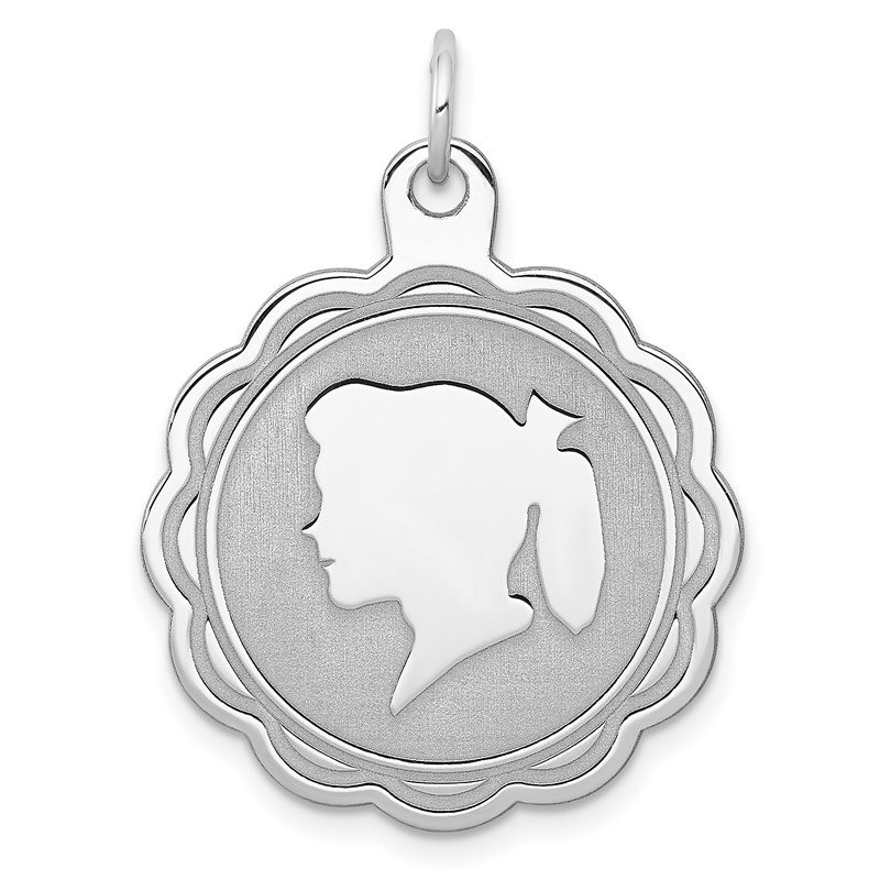 Quality Gold Sterling Silver Rhodium-plated Engraveable Girl Disc Charm