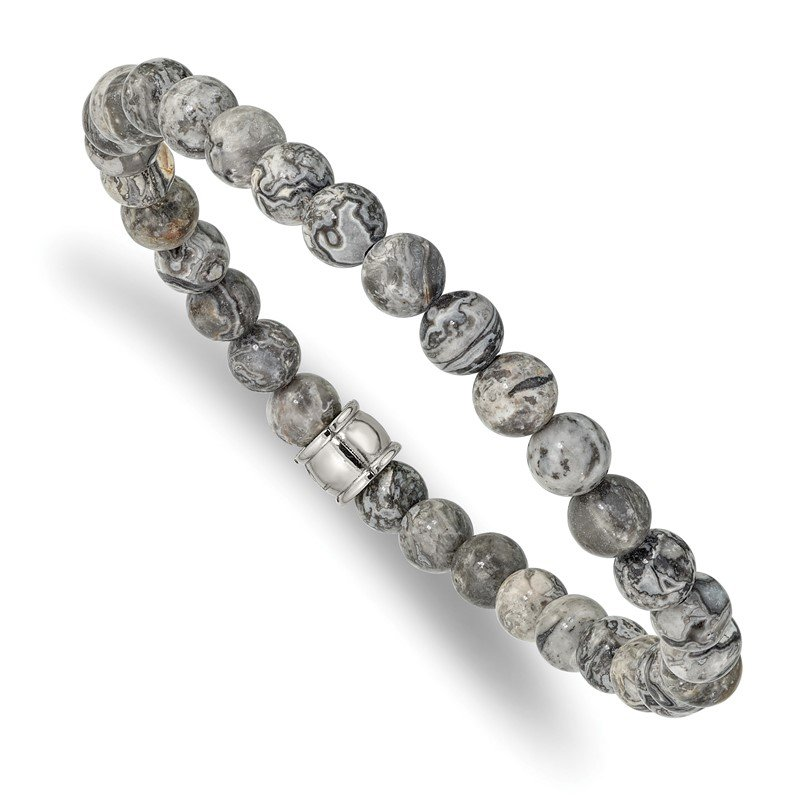 Chisel Stainless Steel Polished Grey Jasper Stretch Bracelet