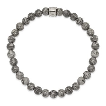 Stainless Steel Polished Grey Jasper Stretch Bracelet