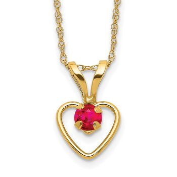 14k Madi K 3mm Ruby Heart Birthstone Necklace
