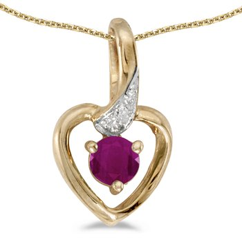 14k Yellow Gold Round Ruby And Diamond Heart Pendant