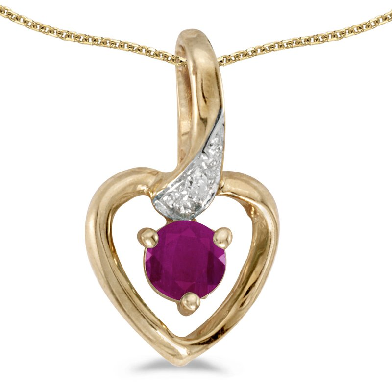 Color Merchants 14k Yellow Gold Round Ruby And Diamond Heart Pendant