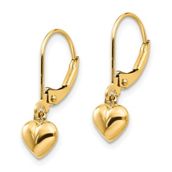 14k Madi K Puffed Polished Heart Drop Leverback Earrings