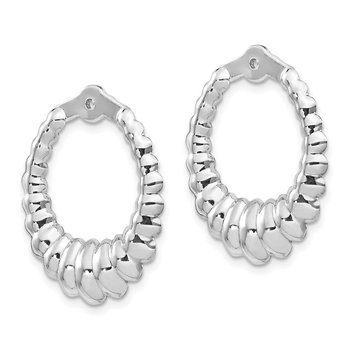 14k White Gold Scalloped Hoop Earring Jackets