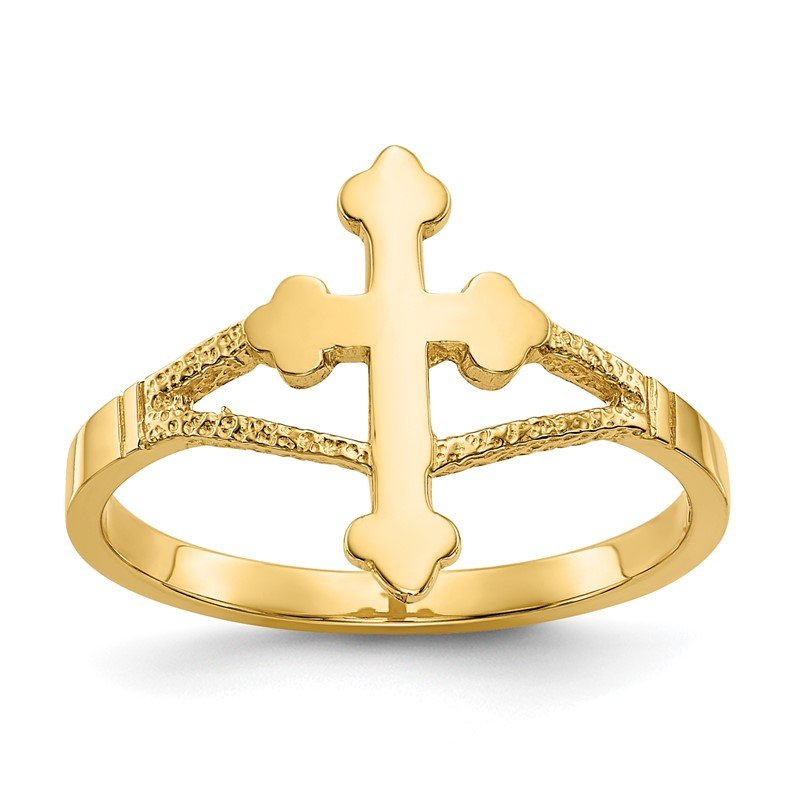 Quality Gold 14k Polished Cross Ring