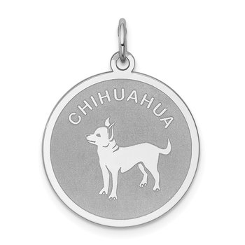 Sterling Silver Rhodium-plated Chihuahua Disc Charm