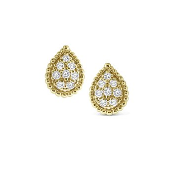 14K Gold and Diamond Pear Studs