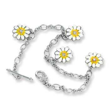 Sterling Silver Daisy Bracelet-White.  Diamonds.
