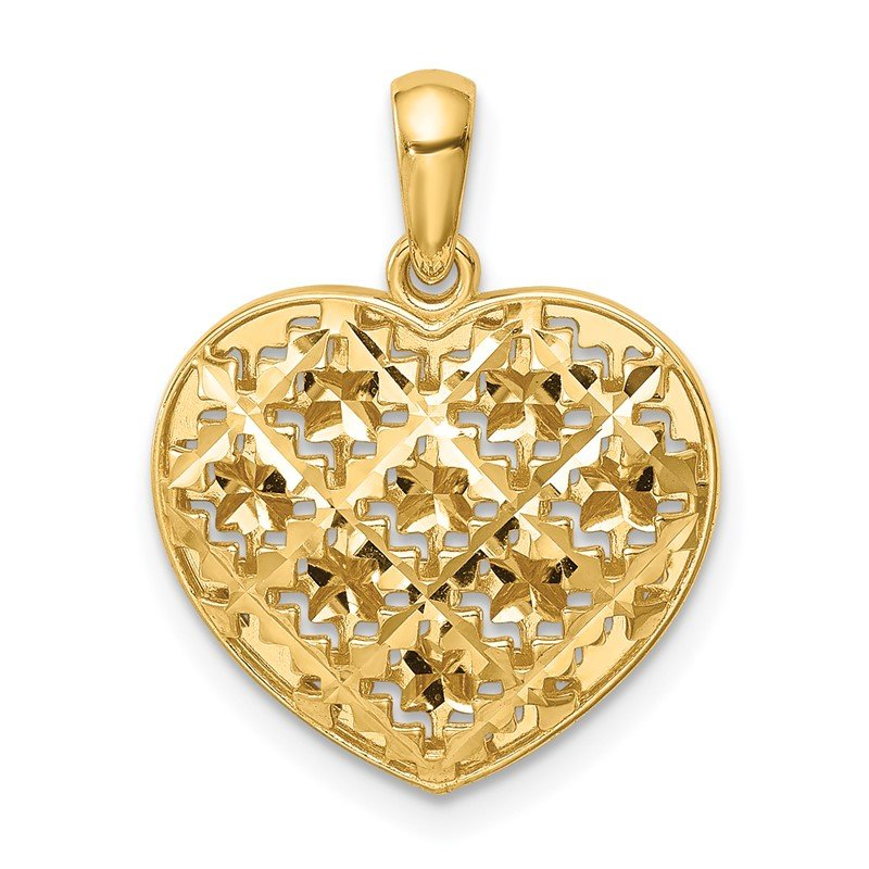Quality Gold 14K Polished 3-D Patterned Puffed Heart Pendant