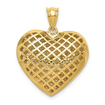 14K Polished 3-D Woven Puffed Heart Pendant
