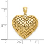 Quality Gold 14K Polished 3-D Woven Puffed Heart Pendant