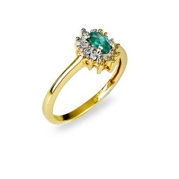 14K YG Emerald and Diamond All Purpose Ring