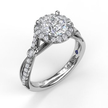 Round Halo Ring With Twisted Pave Band