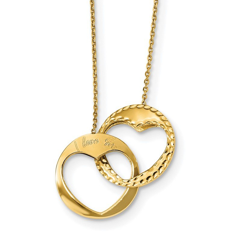 Quality Gold 14k Polished Double Interlocking Heart I Love You with 1 inch ext. Necklace