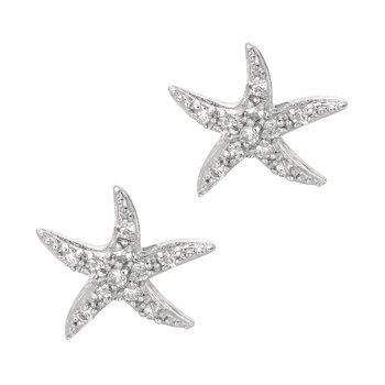 Silver CZ Starfish Stud Earrings