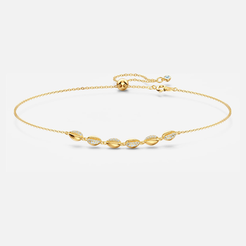 Shell Choker, White, Gold-tone plated