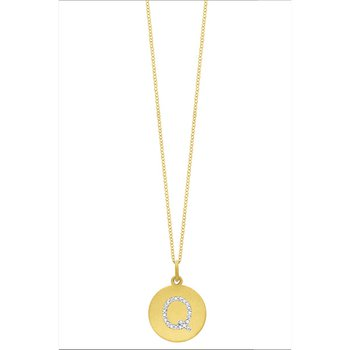 "Diamond Disc Initial ""Q"" Necklace in 14k Yellow Gold with 21 Diamonds weighing .09ct tw."