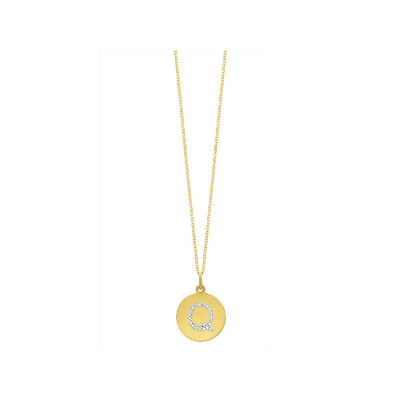 "KC Designs Diamond Disc Initial ""Q"" Necklace in 14k Yellow Gold with 21 Diamonds weighing .09ct tw."