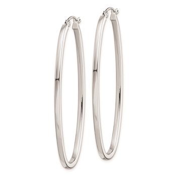 Sterling Silver Rhodium-plated 2mm Oval Hoop Earrings