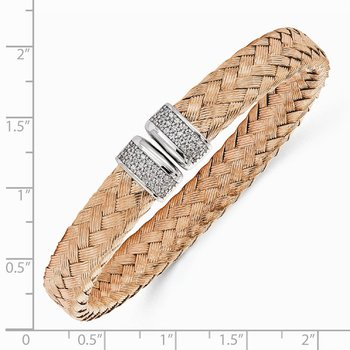 Leslie's Sterling Silver Rose Gold-plated CZ Woven Flexible Cuff