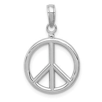 14k White Gold 3D Polished Peace Sign Charm