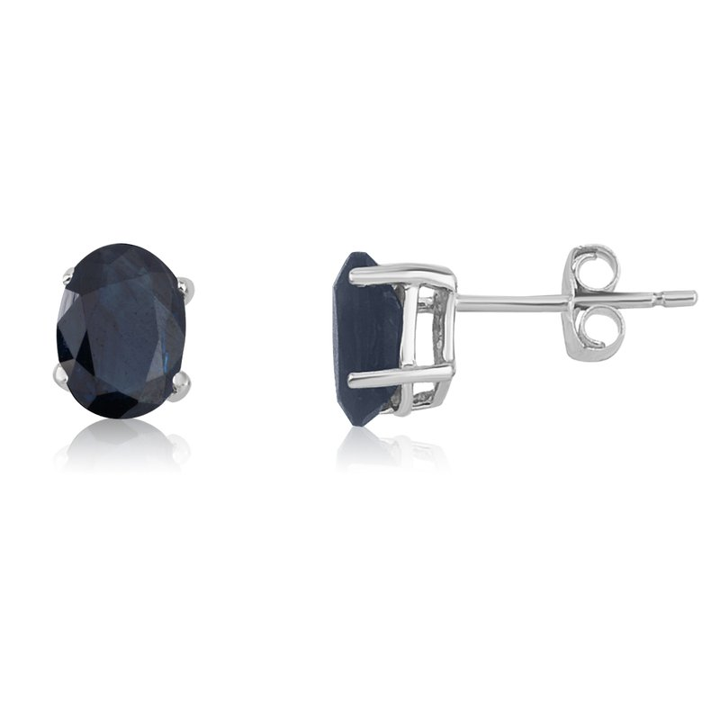Color Merchants 14k White Gold Oval Sapphire Stud Earring