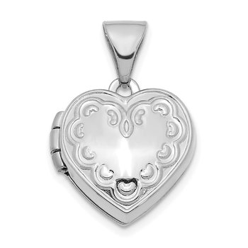 14K White Gold Textured 13mm Heart Locket Pendant