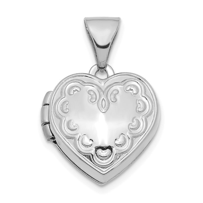 Quality Gold 14K White Gold Textured 13mm Heart Locket Pendant