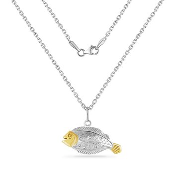 14K YELLOW  & STERLING SILVER FLOUNDER PENDANT ON 18 INCHES SILVER CHAIN