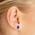 Color Merchants 10k White Gold Oval Amethyst And Diamond Earrings