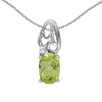 10k White Gold Oval Peridot And Diamond Pendant