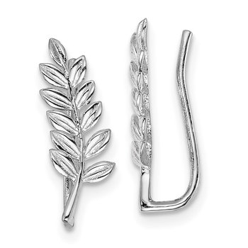 Sterling Silver Rhodium plated Leaf Ear Climber Earrings