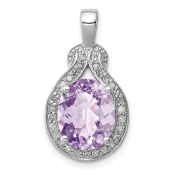 Sterling Silver Rhodium-plated Diamond Pink Quartz Pendant