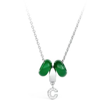 316L stainless steel, green agathe and crystals Swarovski® Elements