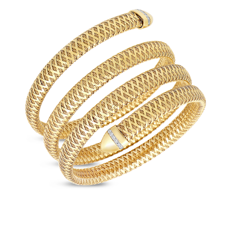 Roberto Coin 18Kt Yellow And White Gold 3 Row Cuff With Diamonds