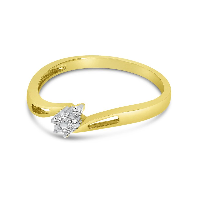Color Merchants 14K Yellow Gold Diamond Cluster Ring