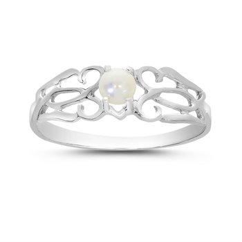 14k White Gold Freshwater Cultured Pearl Filagree Ring