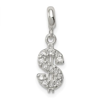 Sterling Silver CZ Dollar Sign Enhancer