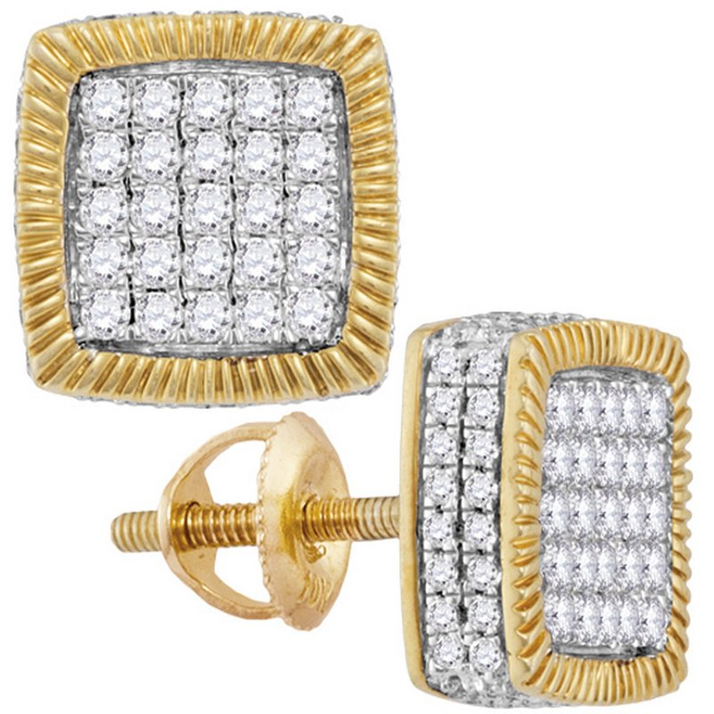Gold-N-Diamonds 10kt Yellow Gold Mens Round Diamond Square Fluted Cluster Earrings 7/8 Cttw