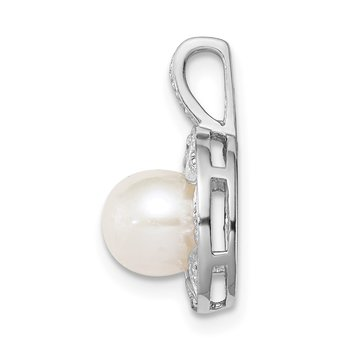 Sterling Silver Rhodium-plated Diam. & FW Cultured Pearl Pendant
