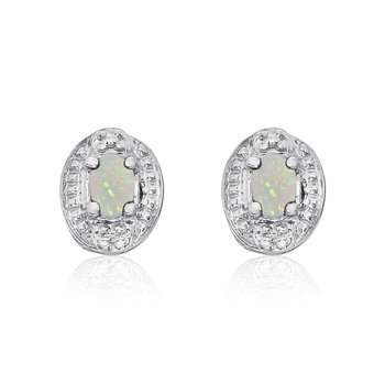 14k White Gold Opal Earrings with Diamonds