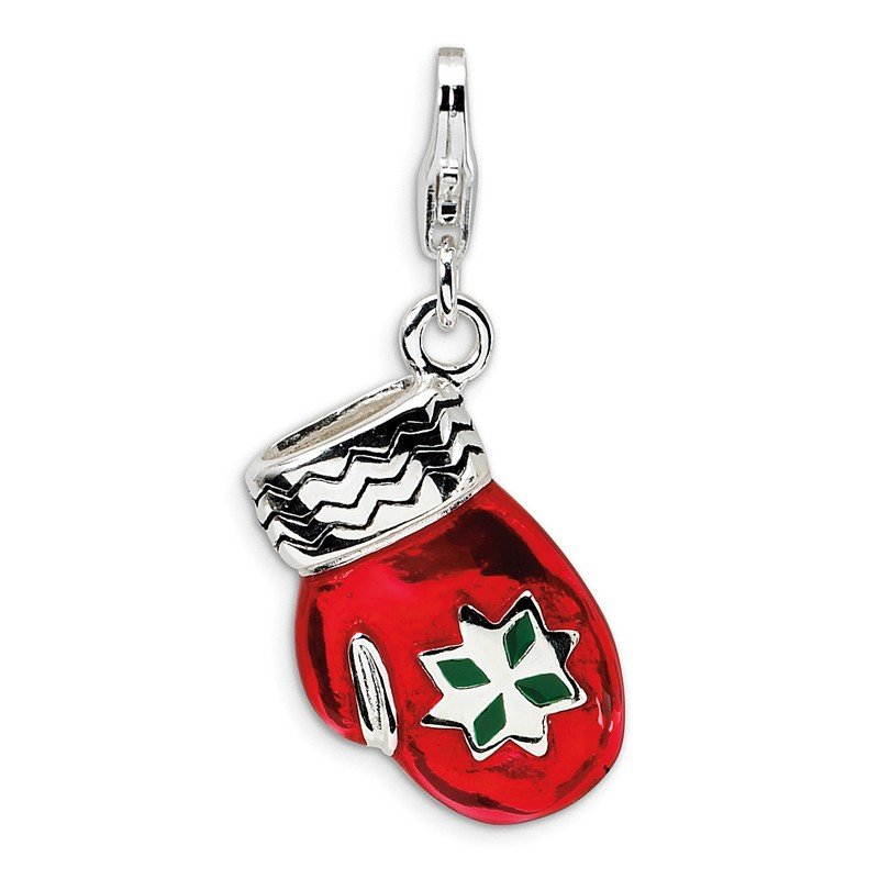 Quality Gold Sterling Silver 3-D Enameled Red Mitten w/Lobster Clasp Charm