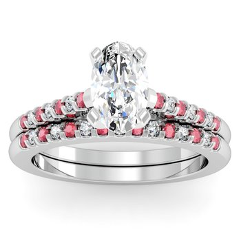 Cathedral Channel Set Ruby & Diamond Engagement Ring with Matching Wedding Band