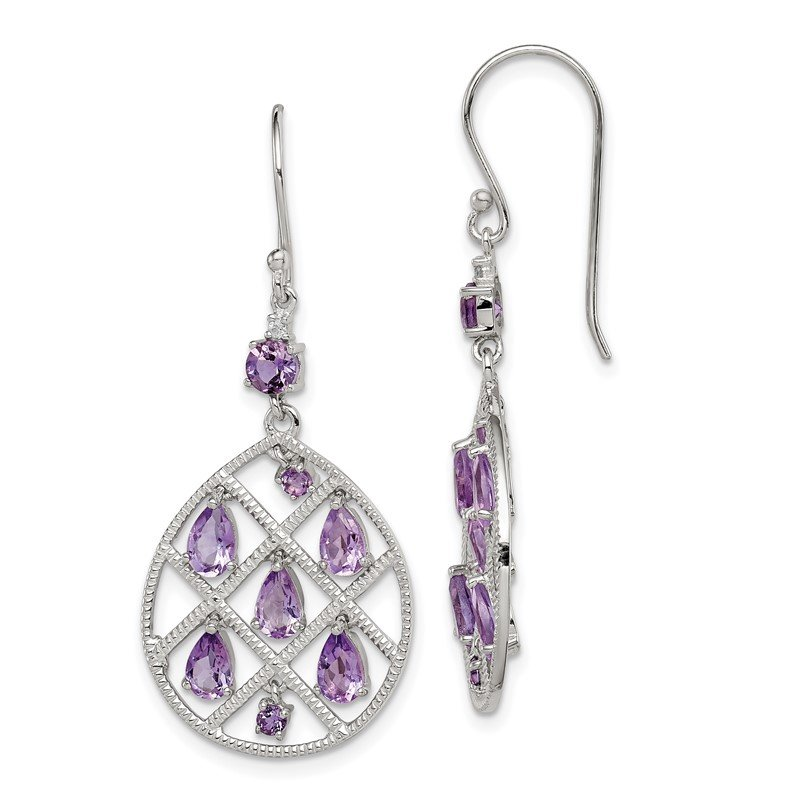 Quality Gold Sterling Silver Amethyst Teardrop Dangle Earrings