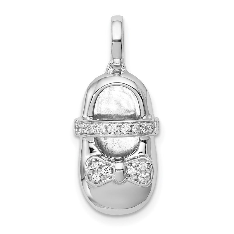 Quality Gold 14k White Gold Diamond Baby Girl Shoe Pendant