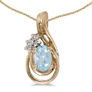 14k Yellow Gold Oval Aquamarine And Diamond Teardrop Pendant