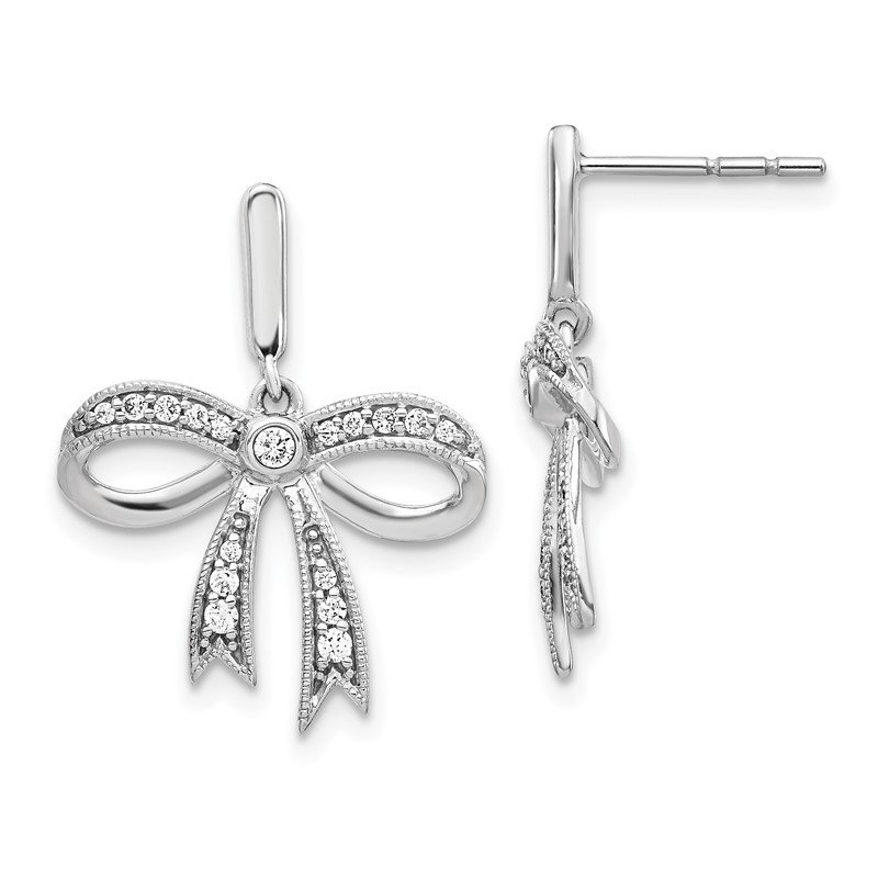 Quality Gold 14k White Gold Diamond Bow Post Earrings