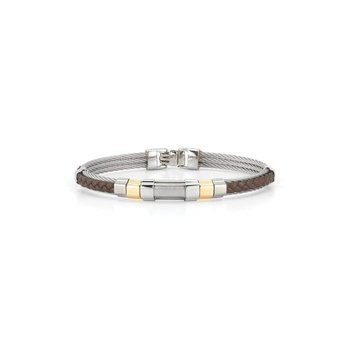 Grey Cable & Brown Braided Leather Bracelet with Steel & 18kt  Yellow Gold Station