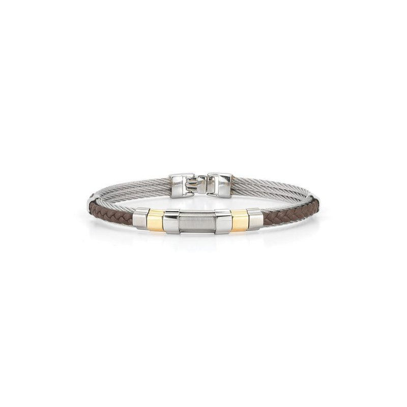 ALOR Grey Cable & Brown Braided Leather Bracelet with Steel & 18kt  Yellow Gold Station