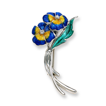 Sterling Silver Pansy Brooch-Blue.  Diamonds.